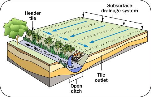Tile Drains System In Agriculture Use